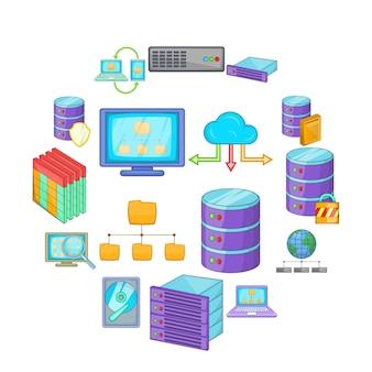 Data base icon set, cartoon style