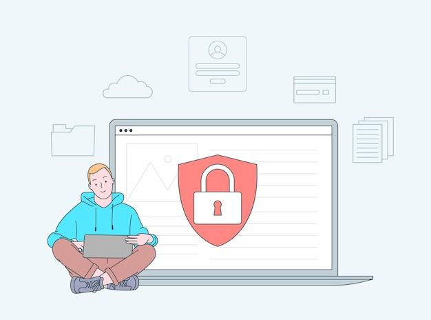 データ漏えい、データ漏えい防止の概念。パーソナルデジタルセキュリティ。防御、ハッカー、詐欺師からの保護。フラットイラスト