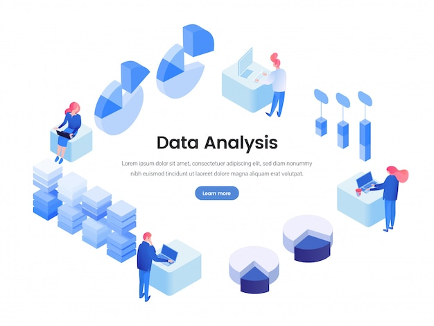Data, business analysis isometric landing page