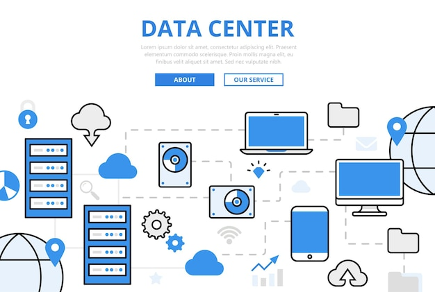 Центр данных баннер в плоском стиле