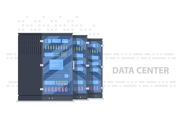 Data center banner with tree server rack, server room