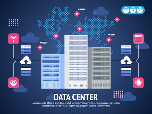 Data center cloud computer connection hosting server database synchronize technology