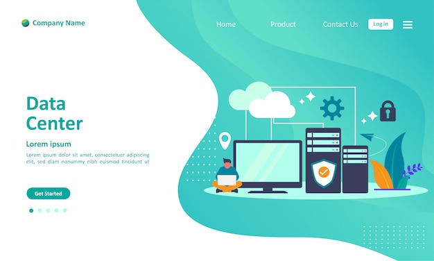 Data center cloud computing landing page
