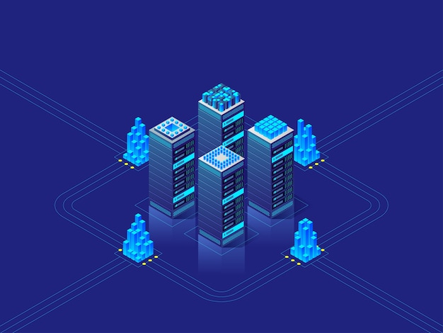 Data center concept. abstract high technology background for website, header, banner.  isometric illustration
