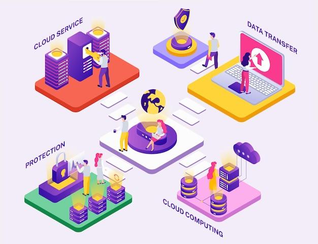 Data center concept isometric composition illustration