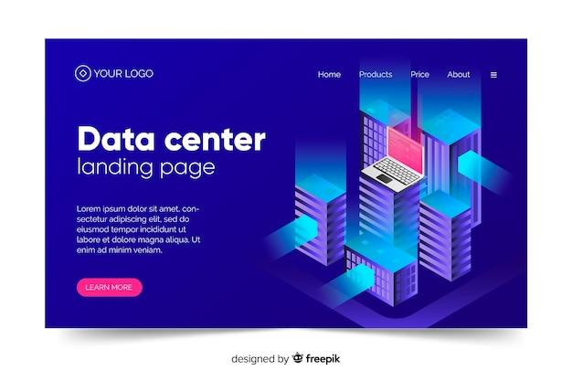 Data center concept landing page in blue shades