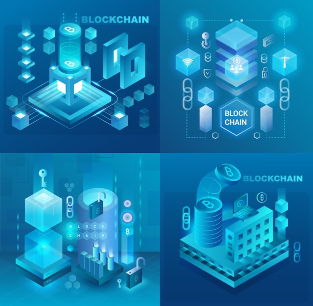 Data center, cryptocurrency and blockchain technology market isometric  illustrations set