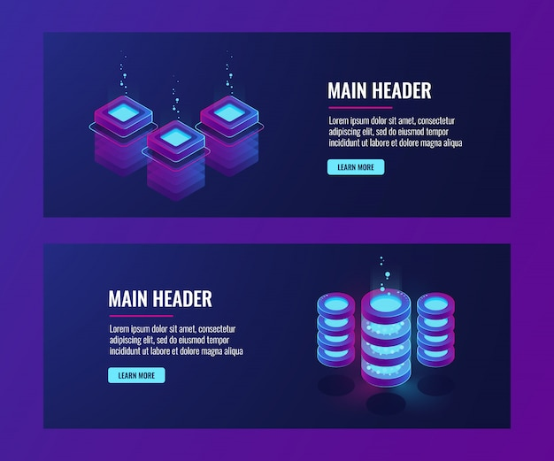 Data center and database banners, server room icons, cloud storage information dark neon