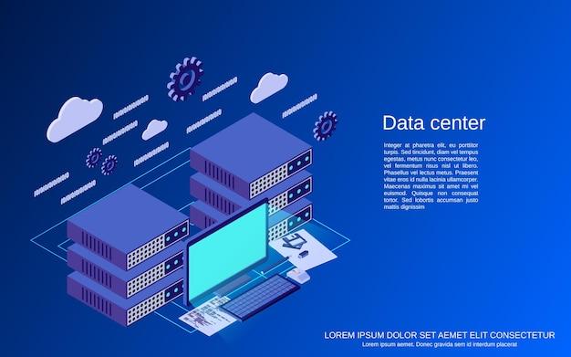 데이터 센터 평면 3d 아이소 메트릭 개념 그림