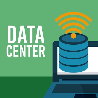 Data center fron laptop vector illustration graphic design