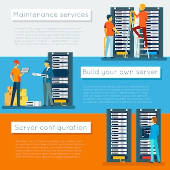 Data center and hosting vector banners set. network internet database, configuration and maintenance