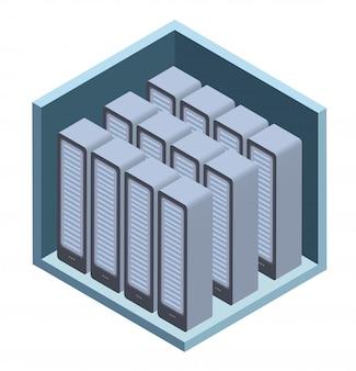 データセンターのアイコン、サーバールーム。白の等角投影のイラスト。