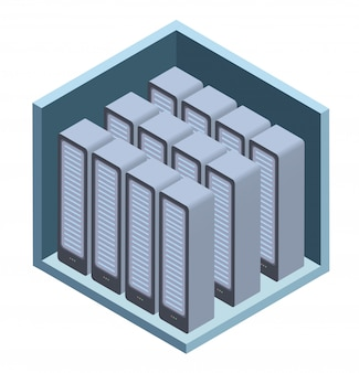 Data center icon, server room.  illustration in isometric projection,  on white.