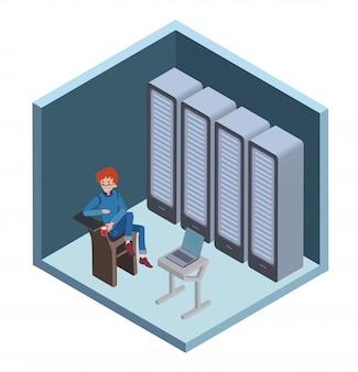 データセンターのアイコン、システム管理者。サーバールームのコンピューターに座っている男。等角投影、白い背景の上の図。