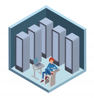 Data center icon, system administrator. man sitting at the computer in server room. illustration in isometric projection, isolated on white.