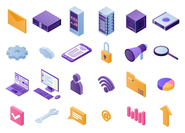 Data center icons set, isometric style