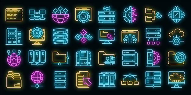 데이터 센터 아이콘을 설정합니다. 블랙에 데이터 센터 벡터 아이콘 네온 컬러의 개요 세트