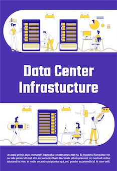 Data center infrastructure poster flat silhouette template
