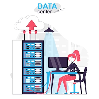 Data center isolated cartoon concept woman working at server rack room networking hardware
