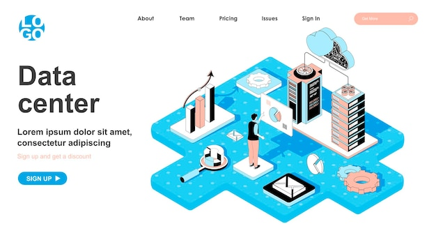 Data center isometric concept in 3d design for landing page