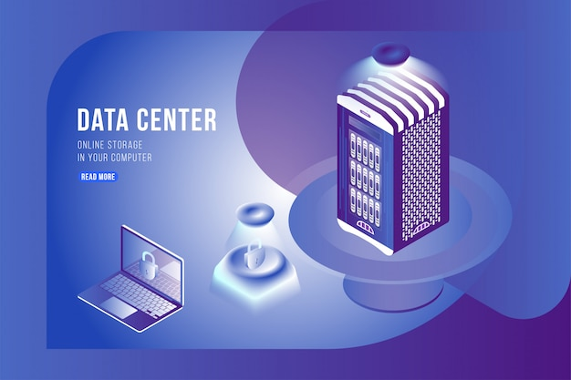 Data center isometric concept with online file storage and laptop.