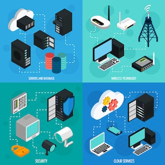 Data center isometric elements set