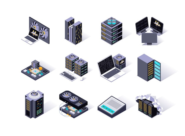 Data center isometric icons set.