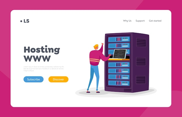 Data center landing page template. engineer male character work on laptop in server room