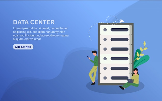 Data center landing page template. flat design concept of web page design for website.