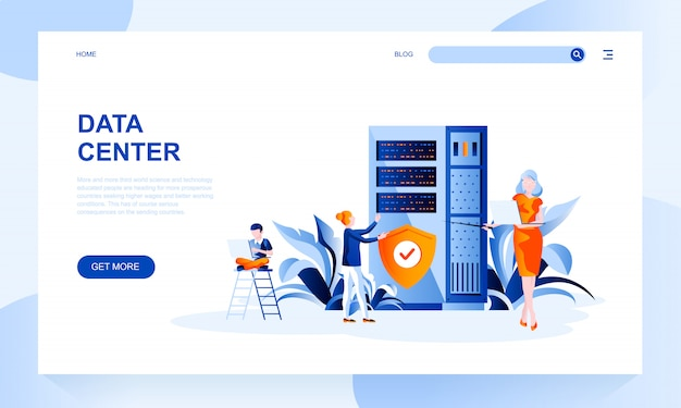 Data center landing page template with header