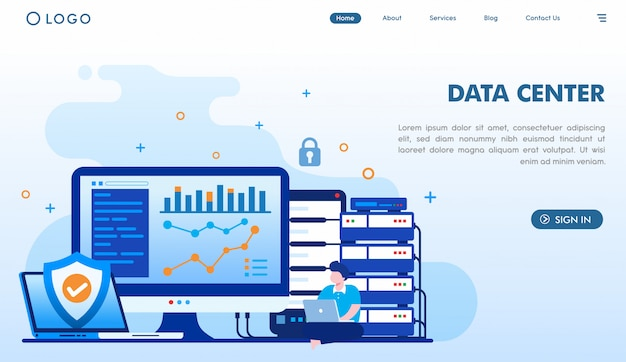 Data center landing page template