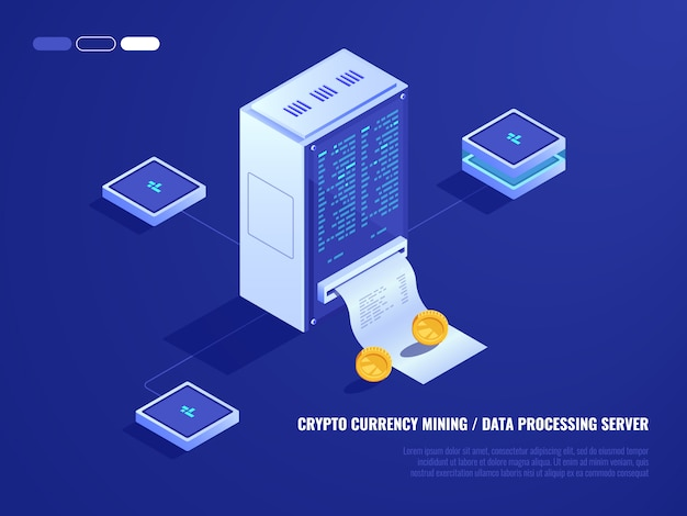 Data center, mining crypto currency hardware, server room, coin