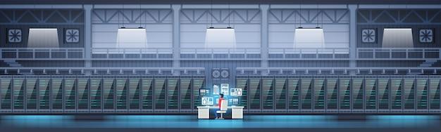Data center room hosting server computer monitoring information database