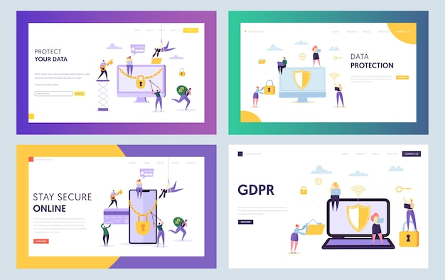 Data center security concept landing page. business people character with laptop smartphone set. online internet protection website or web page. gdpr flat cartoon vector illustration