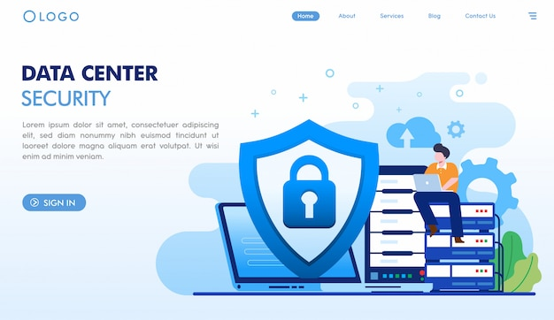 Data center security landing page template