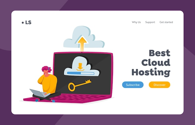 Data center, server digital technologies landing page template. web and cloud hosting. tiny female character sitting on huge laptop with key on screen