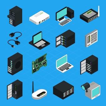 Data center server equipment icons set