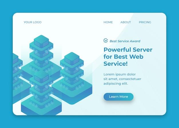 Data center server isometric illustration for landing page