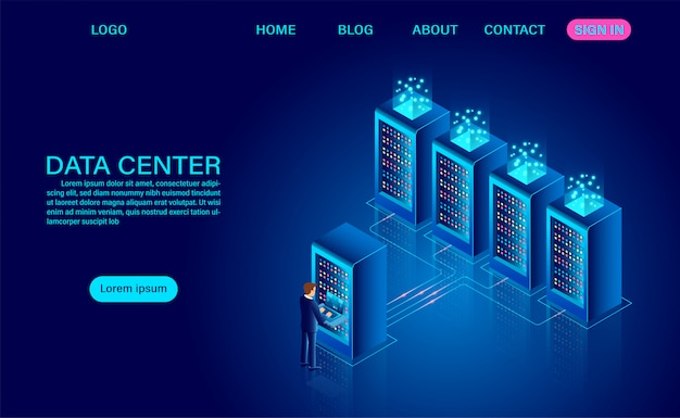 Data center server room and big data processing protecting data security concept. digital information. isometric. dark neon cartoon