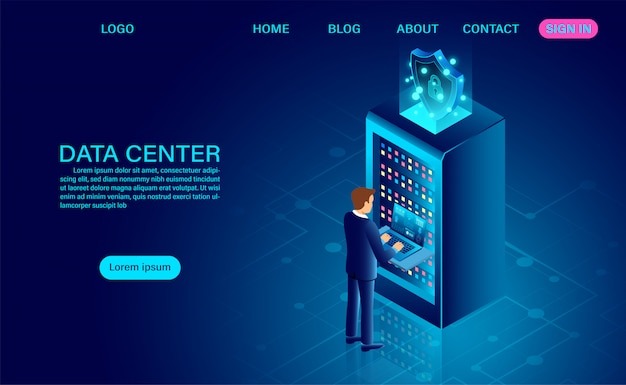 Data center server room and big data processing protecting data security concept. digital information. isometric.