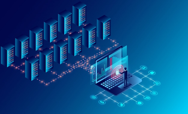 데이터 센터 서버 룸 클라우드 스토리지 기술 및 빅 데이터 처리 데이터 보안 개념을 보호합니다. 등각