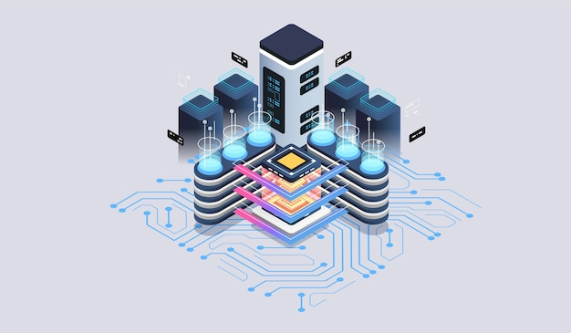 Концепция серверной комнаты центра обработки данных