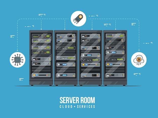 Data center and server room. data storage and exchange service flat illustration. cloud service equipment with hud elements.