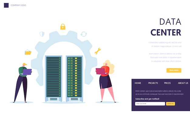 Data center server staff landing page
