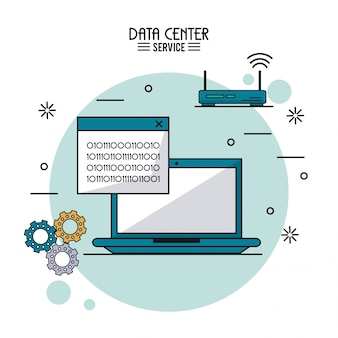 Data center service with laptop with binary window and wireless router