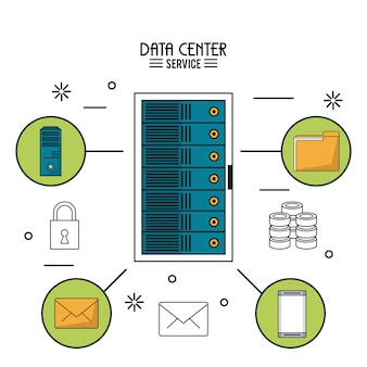 Data center service with rack server and icons around