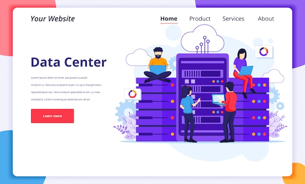Data center services concept, people using laptops access files data in front of giant servers. landing page design template