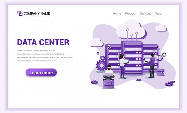 Data center services  for landing page template.