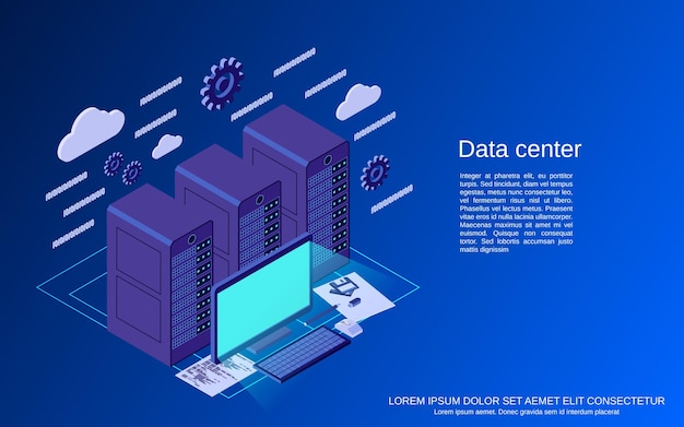 Дата-центр, хранилище плоская изометрическая концепция иллюстрации
