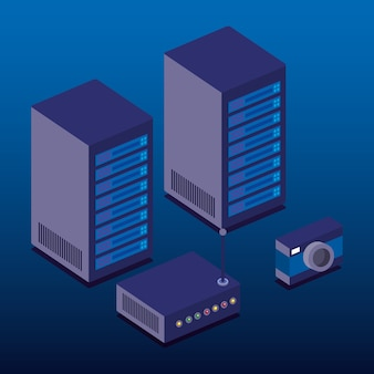 Data center technology isometric icons